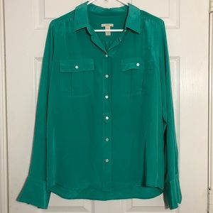J. Crew Green 100% Silk Button Down Shirt Blouse